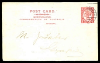 Lot 1652:1910-11 QV Sideface 3 Line Heading HG #17 1d red on white (A of ADDRESS between O & F of OF) with Alfred Shaw & Co printed message on reverse, used Brisbane 1912.