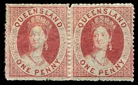 Lot 1131:1860-61 Small Chalon Wmk Small Star Rough Perf 14-16 SG #14 1d carmine-rose pair, Cat £200+, good colour.