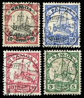 Lot 4296:1900-01 Yachts No WMK SG #G8-10,13 5pf, 10pf, 20pf & 40pf, Cat £20, all cancelled at Apia. (4)