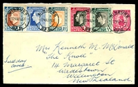 Lot 28323:1937 Coronation set of 5 english language singles on 1d Postal Envelope from Winburg to New Zealand.