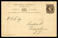 Lot 10136 [1 of 2]:1894-95 Tasmanian International Exhibition HG #6 1½d+1½d with Exhibition Emblems printed on message half,1900 use to Dunedin, NZ, 'N.Z/R.P.O. DN-6./18DE00/2' TPO backstamp