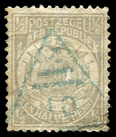 Lot 4457:10: blue triangle of Kaapsche Hoop, on 1885 ½d grey. [Rated 400 by Putzel]