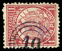 Lot 4666:10: triple-circle of Martinus Wesselstroom on 1885 1d carmine. [not recorded by Putzel]
