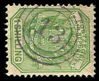 Lot 4736:13: violet triple-circle of Lydenburg on 1896 ½d green. [Rated 200 by Putzel]