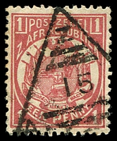 Lot 4667:15: triangle of Middelburg, on 1885 1d rose. [Rated 50 by Putzel]