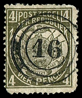 Lot 4668:16: triple-circle of Marabastad on 1885 4d bronze-green. [Rated 150 by Putzel]