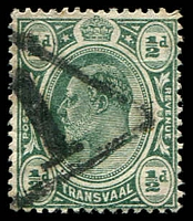Lot 28929:1: large '1' in triangle of Pretoria on ½d KEVII.