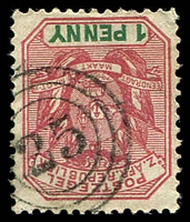 Lot 4460:25: triple-circle of Komati on 1896 1d. [Rated 100 by Putzel]