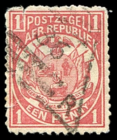 Lot 4739:35: triangle of Eureka Kaap Gouldvelden, on 1885 1d rose. [Rated 200 by Putzel]