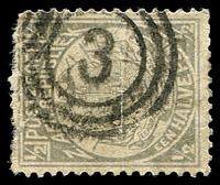 Lot 4453:3: triple-circle of Rustenburg on 1887 ½d grey.