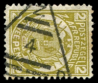 Lot 4454:4: triangle of Barberton on 1887 2d olive-bistre. [Rated 50 by Putzel]