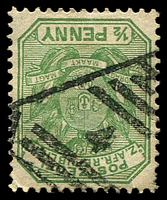 Lot 4235:4: triangle of Barberton on 1896 ½d green. [Rated 50 by Putzel]