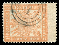 Lot 28933:4: triple-circle of Klerksdorp on 1883 3d pale red. [Rated 200 by Putzel]