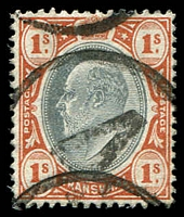Lot 4455:4: large '4' in circle on 1/- KEVII, unallocated.