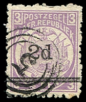 Lot 4216:5: triple-circle of Bloemhof on 1887 2d surcharge.