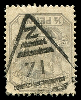 Lot 4461:71: triangle, unallocated, on 1895 ½d grey.