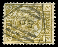 Lot 4670:88: triangle of Bremersdorp, on 1887 2d olive-bistre. [Rated 400 by Putzel]