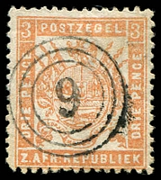 Lot 4456:9: triple-circle of Heidelburg on 1883 3d pale red. [Rated 500 by Putzel]