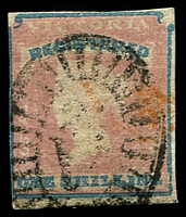 Lot 11306:1854-55 Imperf Calvert Woodblocks SG #34 1/- Registered Die 1, close or touching margins, Cat £190, cancelled with light BO '24' of Ballarat.