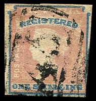 Lot 1815:1854-55 Imperf Calvert Woodblocks SG #34 1/- Registered Die 1 [pos 25] 3½-margins, Cat £190, cancelled with fair BN '45' of Glenorchy.