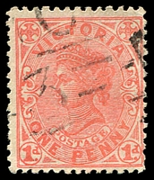 Lot 2353:1103: '[M]C/3' on 1d pink. [Rated S]  Allocated to Waggarandall-PO 12/2/1879; closed 31/12/1964.