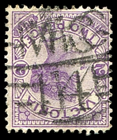 Lot 2002:1114: double strike of 'MC/14' on 2d violet. [Rated S]  Allocated to Coonooer Bridge-PO c.-/1/1879, provisionally closed 30/12/1966; closed 1/3/1967.