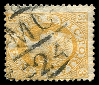Lot 2357:1124: 'MC/24', right half of unframed St. Kilda West duplex on 3d orange Laureate. [Rating R]  Allocated to St. Kilda West-PO c.-/3/1879; renamed St. Kilda R.S. PO 1/10/1886; replaced by St. Kilda West PO 24/10/1970.