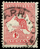 Lot 2984:Arrino (4): - 'ARRINO/?AU13/[WESTN AUS]T.' (#B29) on 1d Roo (White flaw on right side of A of AUST BW #3(F)i).  RO 28/9/1910; PO 10/6/1911; closed 20/11/1981.