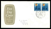 Lot 914:APO 1965 ITU pair, left unit with White flaw NE of 5, on solid brown Shield cover, Melbourne FDI cds of 10MAY65, typed address.