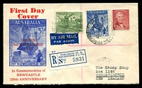 Lot 923:Haslem 1947 Newcastle set on registered air cover (small tear) from Elizabeth St to New Zealand.