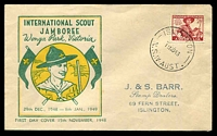 Lot 4332:Miller Bros 1948 Jamboree on green & yellow illustrated cover, Islington cds of 14NO48, stamped address of J&S Barr Stamp Dealers Islington.