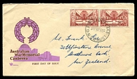 Lot 1056:Royal 1958 War Memorial pair on brown & lilac illustrated cover, Sydney cds of 10FE58, hand-addressed to New Zealand.