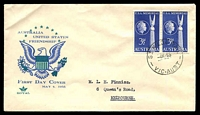 Lot 1054:Royal 1955 USA Memorial pair on blue & green illustrated cover, St Kilda Rail cds of 4MY55, typed address.