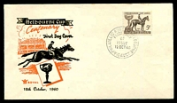 Lot 723:Royal 1960 Melbourne Cup on black & orange illustrated cover, Melbourne FDI cds of 12OCT60, unaddressed.