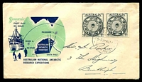 Lot 721:Royal 1954 ANARE pair on blue & green illustrated cover, Melbourne cds of 17NO54, hand addressed.