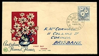 Lot 932:WCS 1959 2/- Flannel Flower dark blue, green & red illustrated cover, Brisbane FDI cds of 8APR59, hand addressed.