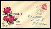 Lot 738:WCS 1959 3/- Waratah green & red illustrated cover, Melbourne FDI cds of 15JLY59, hand addressed.
