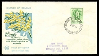 Lot 1071:WCS 1964 2/3d Wattle pale blue, yellow & green illustrated cover, Melbourne FDI cds of 28OC64, hand-stamped address.