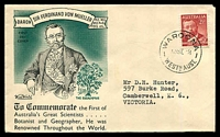 Lot 4565:Wide World 1948 Von Meuller on green & black illustrated cover, Waroona cds of 13SE48, typed address.