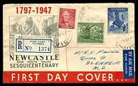 Lot 1073 [1 of 2]:Wide World 1947 Newcastle set on registered illustrated cover airmail to New Zealand, Port Fairy cds of 8SP47.
