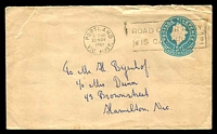Lot 412 [1 of 2]:1960-65 5d Light Blue QEII Small Die BW #EP60(5) sender's address setting 5, 1961 use Portland to Hamilton.