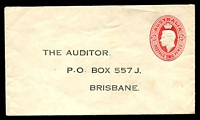 Lot 875:1937-41 2d Red KGVI Oval BW #ES83 for the Auditor, Brisbane, minor soiling, unused.