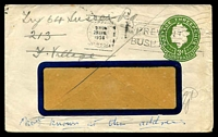Lot 878:1953-57 3d Green QEII Large Die BW #ES91 on window faced envelope, 1954 use Melbourne to England where several attempts made to find the addressee.