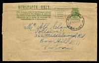 Lot 901:1942-50 1½d Green KGVI Sideface BW #W23 1951 use Sydney to Melbourne