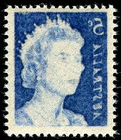 Lot 766:1966-73 5c Blue QEII BW #444c with strong Offset, Cat $75.