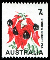 Lot 774:1971-74 Floral Coils BW #535ce 7c Sturt's Desert Pea with Buff omitted and green misplaced, Cat $300.