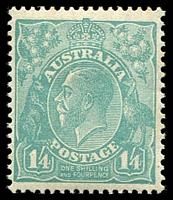 Lot 3100:1/4d Greenish Blue - BW #131 couple of lightly toned perfs, Cat $150.