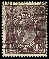 Lot 275:1½d Black-Brown Die I: [1R24] Small dot above A of AUST and cut in top frame above tip of right wattles