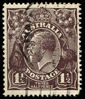 Lot 1102:1½d Black-Brown Die I - [1R30] Notch in right frame opposite right wattle stem, etc, rounded corner.