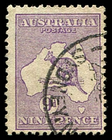Lot 107:9d Violet - BW #25 Cat $90.